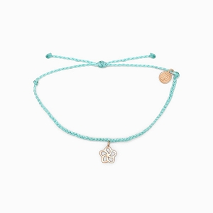 Plumeria Charm Bitty Braid Bracelet Rose Gold Seafoam