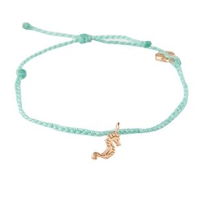 Seahorse Bitty Braid Bracelet Rose Gold Seafoam