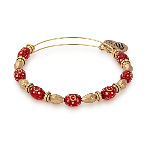 Radiance Crimson Beaded Bangle Gold