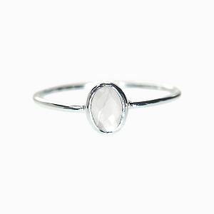 Oval Rose Quartz Ring Silver Size 6