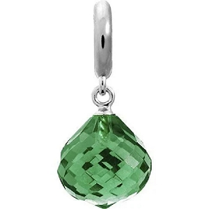 Love Crystal Drop Green Emerald Silver 1351-5