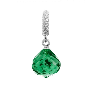 Mysterious Drop Silver Emerald Charm 1301-5