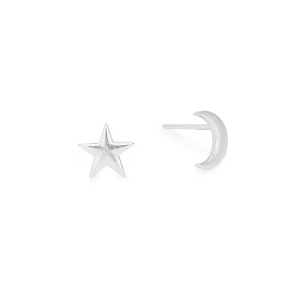 Moon and Star Post Earrings Silver