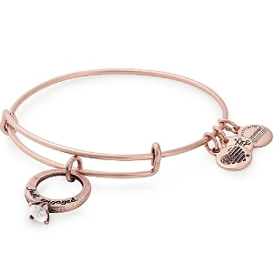 Just Engaged Charm Bangle Rose Gold