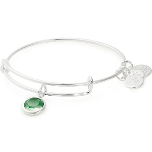August Birth Month Charm Bangle With Swarovski Crystal Silver