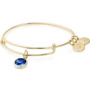 September Sapphire Charm Bangle Swarovski Crystal Gold