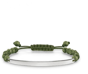 Love Bridge Silver & Heliotrope Green Nylon Bracelet LBA0002-818-6 21cm