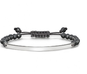 Love Bridge Silver & Hematite Grey Nylon Bracelet LBA0002-817-5 21cm