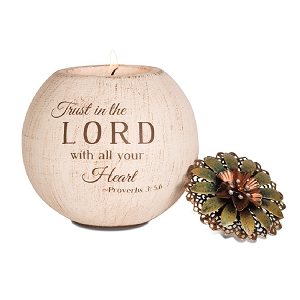 Trust in The Lord 4 Inch Round Tea Light Votive Candle Holder