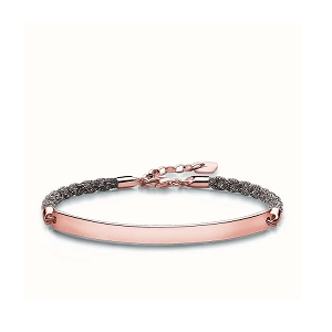 Love Bridge Rose Gold & Mokuba Ribbon Bracelet LBA0029-597-9 19cm