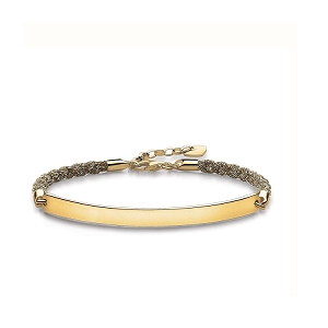 Love Bridge Yellow Gold & Mokuba Ribbon Bracelet LBA0029-848-3 19cm