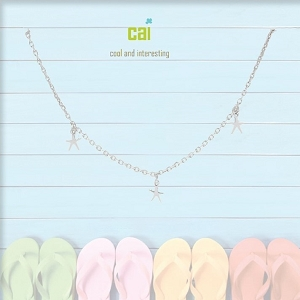 Anklet Sea Star Dainty + Dangle Silver