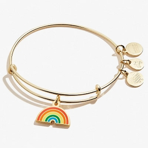 Color Infusion Rainbow Charm Bangle Shiny Gold