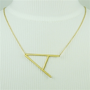 Gold Large Sideways Initial Necklace A