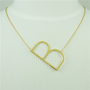 Gold Large Sideways Initial Necklace B
