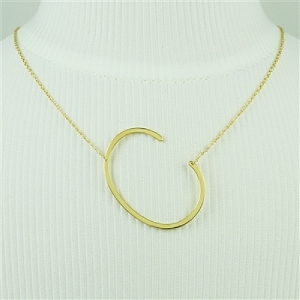 Gold Large Sideways Initial Necklace C