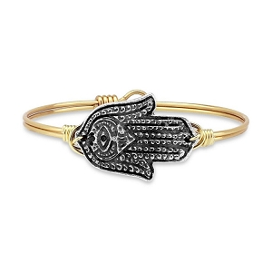 Hamsa Hand Bangle Brass 7.5