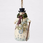 Victorian Snowman with Wreath Hanging Ornament 4053685