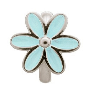Light Blue Enamel Flower Silver 41155-5