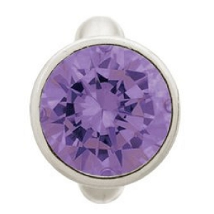 Round Amethyst Dome Sterling Silver Charm 41158-1