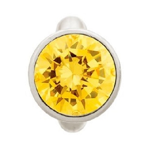 Round Citrine Dome Sterling Silver Charm 41158-5