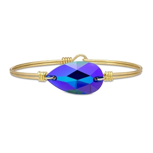 Teardrop Bangle Bracelet In Metallic Cobalt Brass 7.0