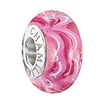 2015 Ltd Edition Sound Waves Murano Raspberry Beret Bead