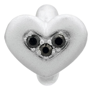 Endless Triple Love Silver Charm Black 41300-2