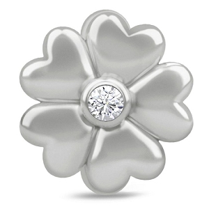 White Heart Flower Charm 41305