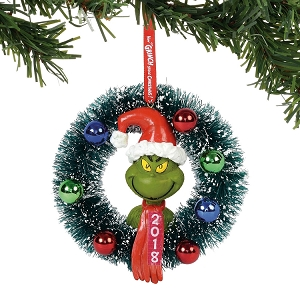 Grinch in Wreath Dated Christmas Ornament 6000307
