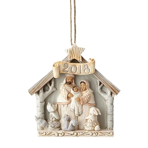 White Woodland 2018 Dated Nativity Ornament 6001417