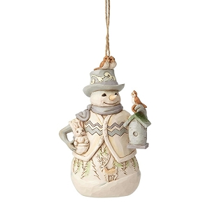 White Woodland Snowman with Birdhouse Ornament