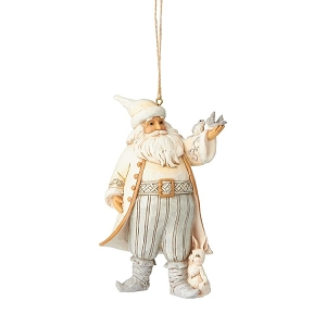 White Woodland Santa with Bird Ornament 6001419