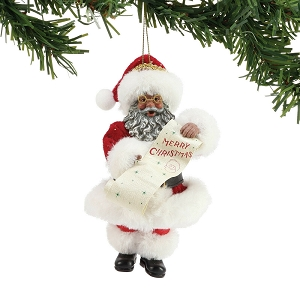 Merry Christmas African American Santa Ornament 6003868