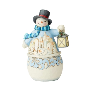 Calm And Bright Snowman with Village Scene 6004141