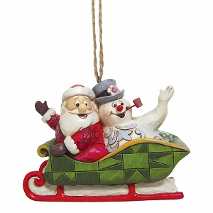 Santa And Frosty In Sleigh Ornament 6004159
