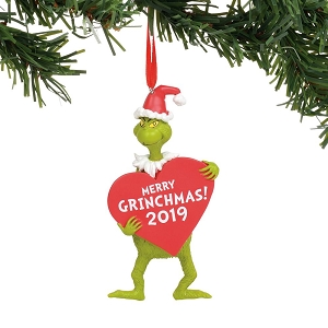 Dr. Seuss Grinch with Heart Dated Ornament 6011001