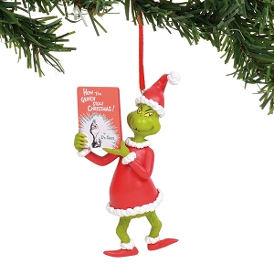 Dr. Seuss Grinch with Book Ornament 6011002