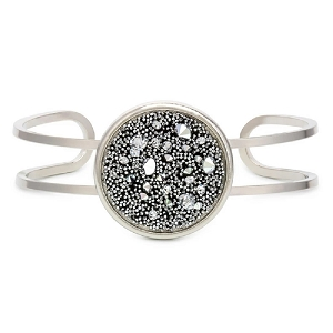 Kelsey Pave Cuff In Metallic Silver