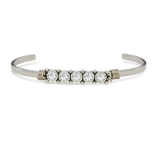 Birthstone April Cuff Bracelet Silver Tone