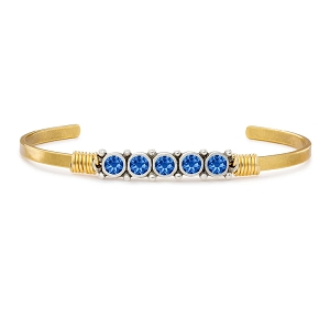 Birthstone September Cuff Bracelet Brass Tone