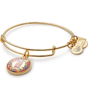 Peace Love Music Charm Bangle Yellow Gold