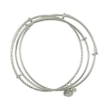 Set of 3 Bangles (2 Textured 1 Smooth) Shiny Silver