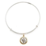Saint Christopher Charm Two Tone Bangle Argentium Silver