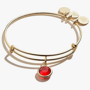 July Ruby Birth Month Charm Bangle With Swarovski Crystal Gold