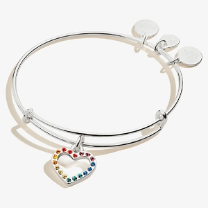 Crystal Infusion Rainbow Heart Charm Bangle Shiny Silver