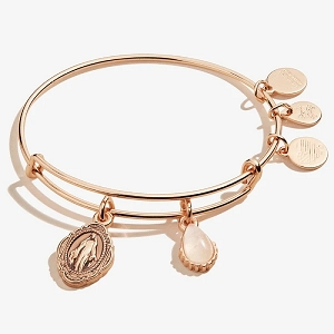 Mother Mary Duo Charm Bangle Rose Quartz Gemstone