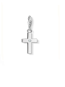 Silver and White Zirconia Cross Charm 0366-051-14