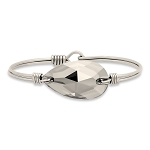 Teardrop Bauble Bangle Bracelet in Crystal Satin Silver 7.0