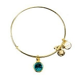 Crystal Birthstone Bangle December Blue Zircon Yellow Gold